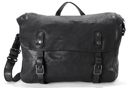 Aunts & Uncles Walrus Leather Messenger Bag Raven