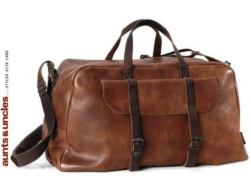Aunts & Uncles Good Old Friends Roughneck Leather Weekender Duffle Bag Hazelnut