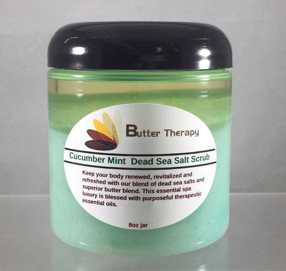 Dead Sea Salt Scrub Cucumber & Mint 8oz Jar - Buttertherapy.com