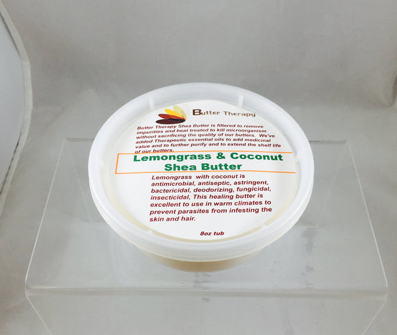 Lemongrass & Coconut Shea Butter Blend 8oz Tub - Buttertherapy.com