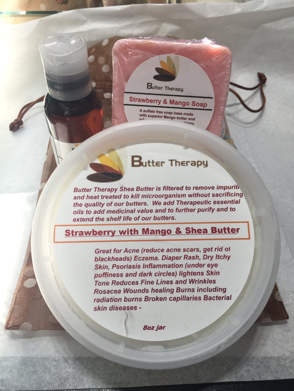 Strawberry Mango Butter Soap Set w/ Essential Oil 2oz Btl - Buttertherapy.com