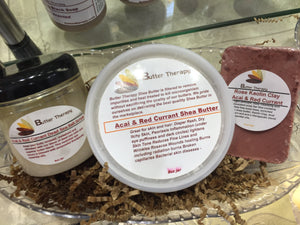 ACAI & Red Currant Shea Butter Large Set w/Dead Sea Salt Scrub 8oz - Buttertherapy.com