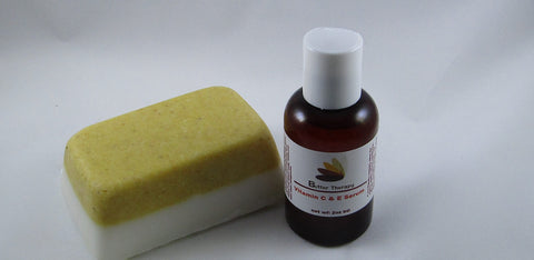 Vitamin C & E Serum / Cornmeal Soap Set - Buttertherapy.com