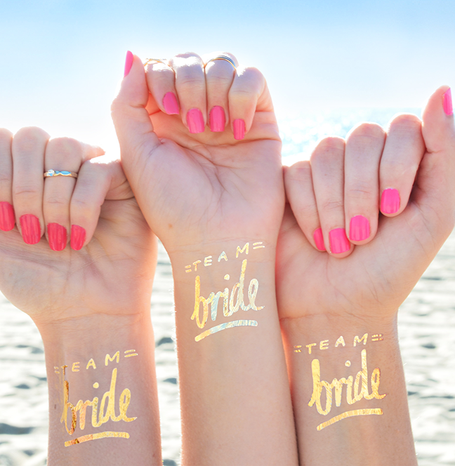Metallic Gold Tattoos for your Bride Tribe
