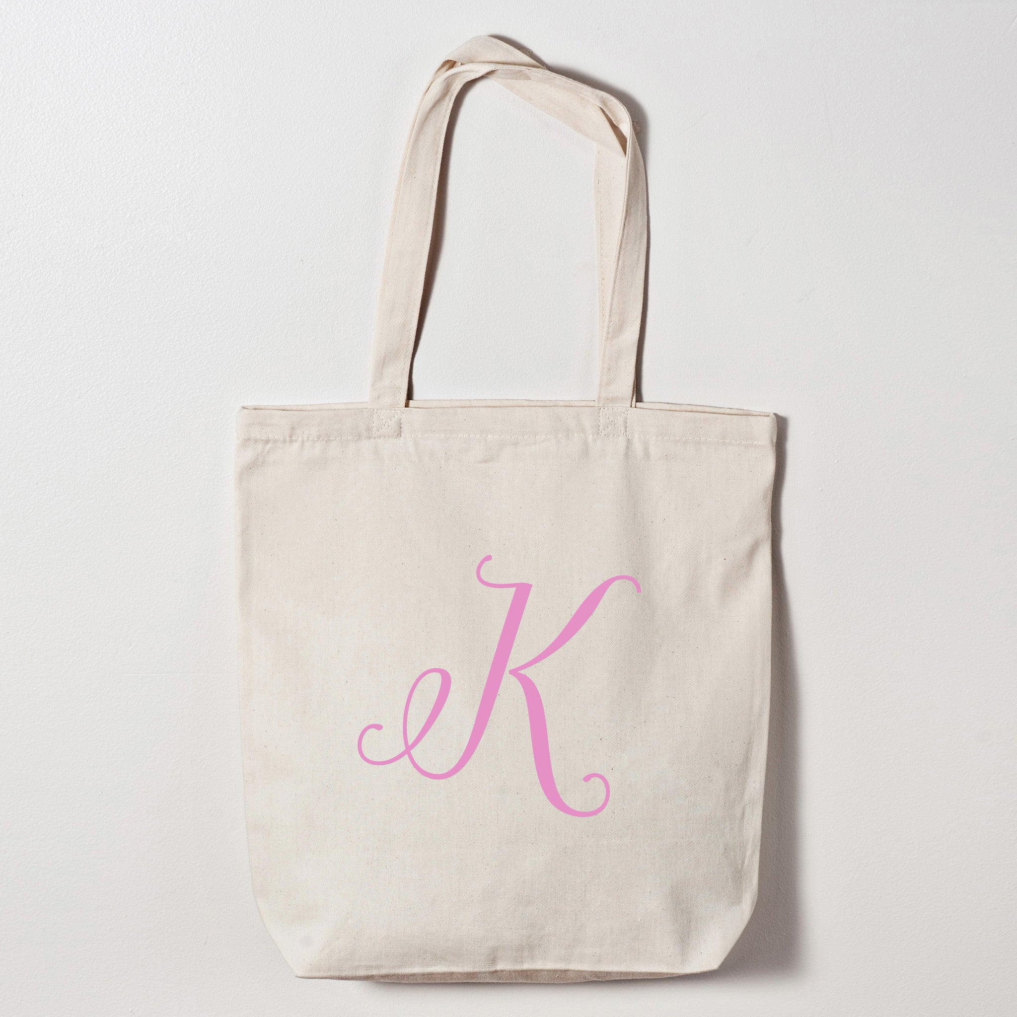 personalized calligraphy initial tote wedding bags