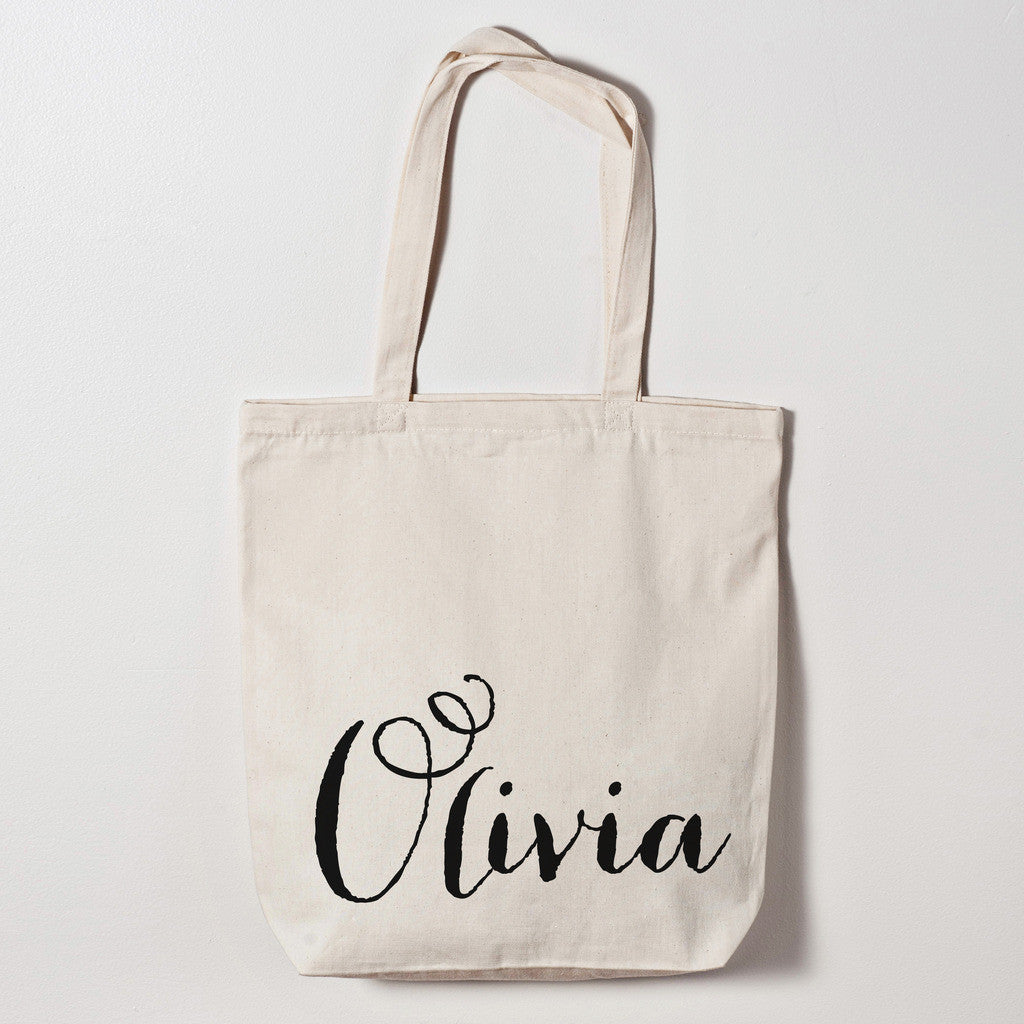 Personalized Floral Watercolor Calligraphy Name Bag