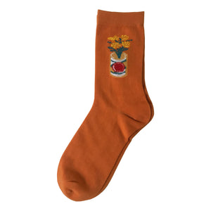 Flower Beer socks - burnt orange