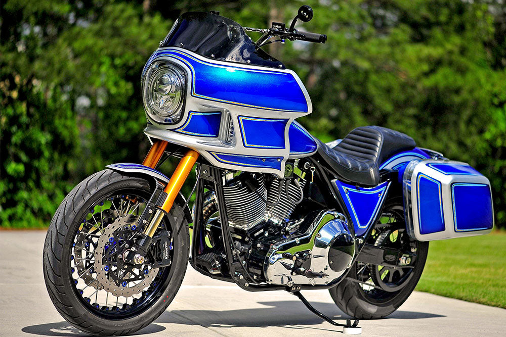 The Blue Girl - 1985 FXRT  - a custom Harley-Davidson™ by Pop's Garage & Fabrication