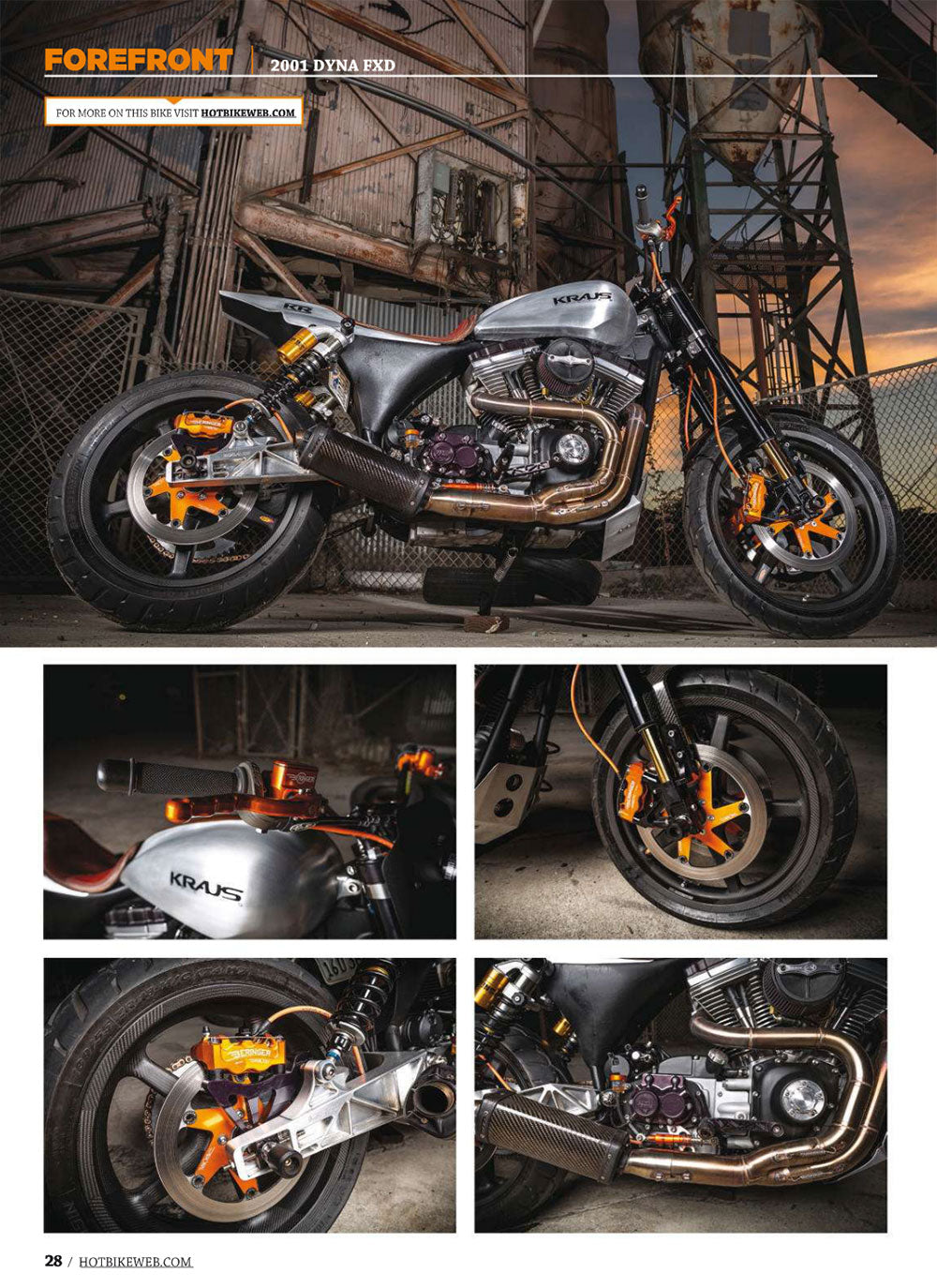 Dynamite featured in the October 2015 issue of Hot Bike Magazine