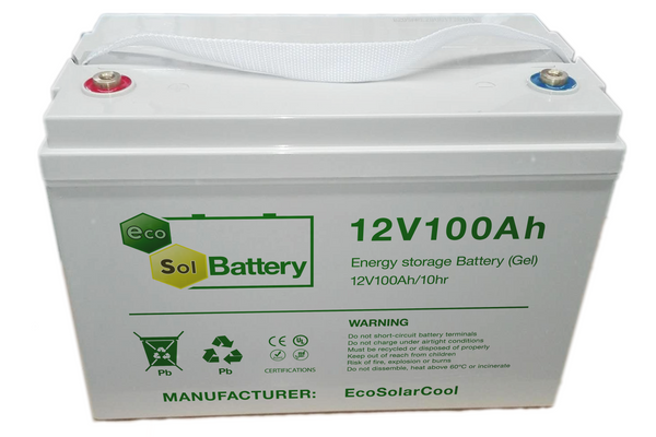 EcoSol 100Ah 12 Volt Rechargeable Gel Battery ESB10012VG