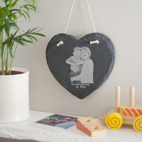 SLATE Hanging Heart with your own photo engraved