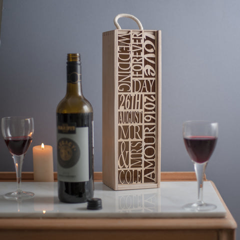 Bespoke Wedding Wine Box (add your own 10 words)