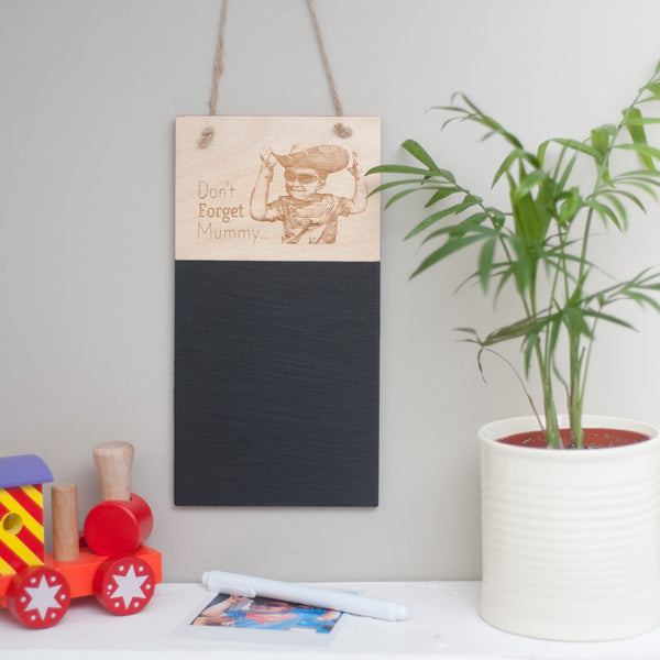 Personalised Chalkboard - your own photograph engraved