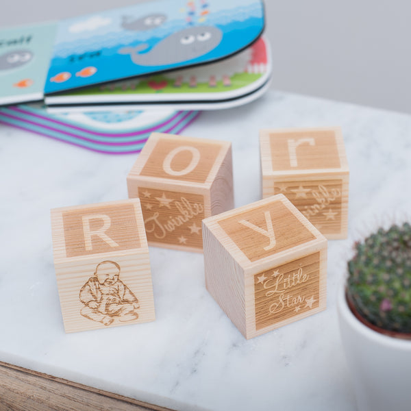 Personalised Children's Wooden Block SET with Photo, initials & personal message