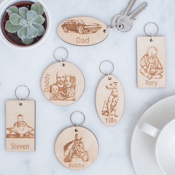 Bespoke Wooden Keyring with your own photo engraved