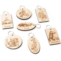 wood personalised keyring