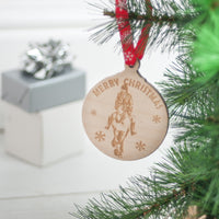 Equine Personalised Christmas Wooden Bauble