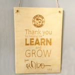 Personalised 'Thank you...' wooden hanging plaque