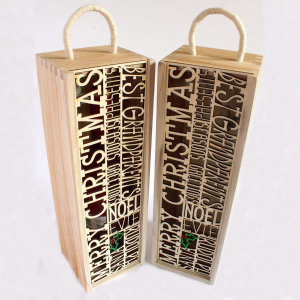 Personalised Christmas wine bottle box (add your own 10 words)