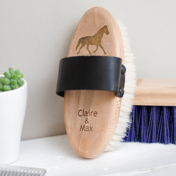 Personalised Grooming Set - (Goat hair body brush, dandy brush + hoof pick)