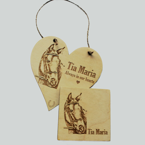Bespoke engraved wood heart with your photograph. Matching wooden coaster with your photograph. Personalised home gifts.