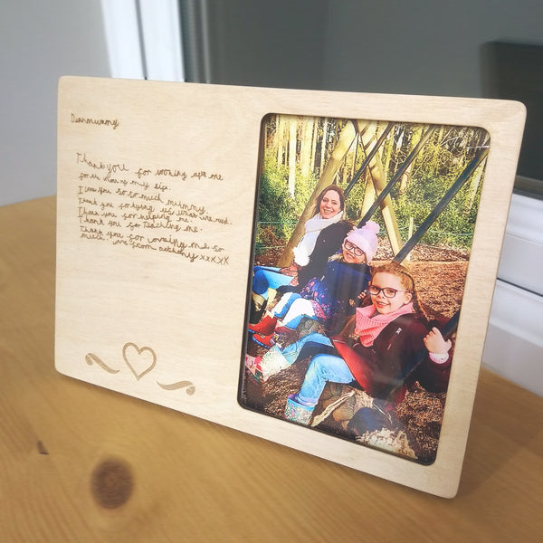 Bespoke Photo frame with Child's writing engraved