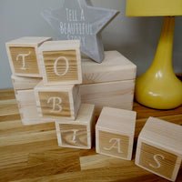 Twinkle OR Dream - Personalised Building Block SET (No photo) - Pine