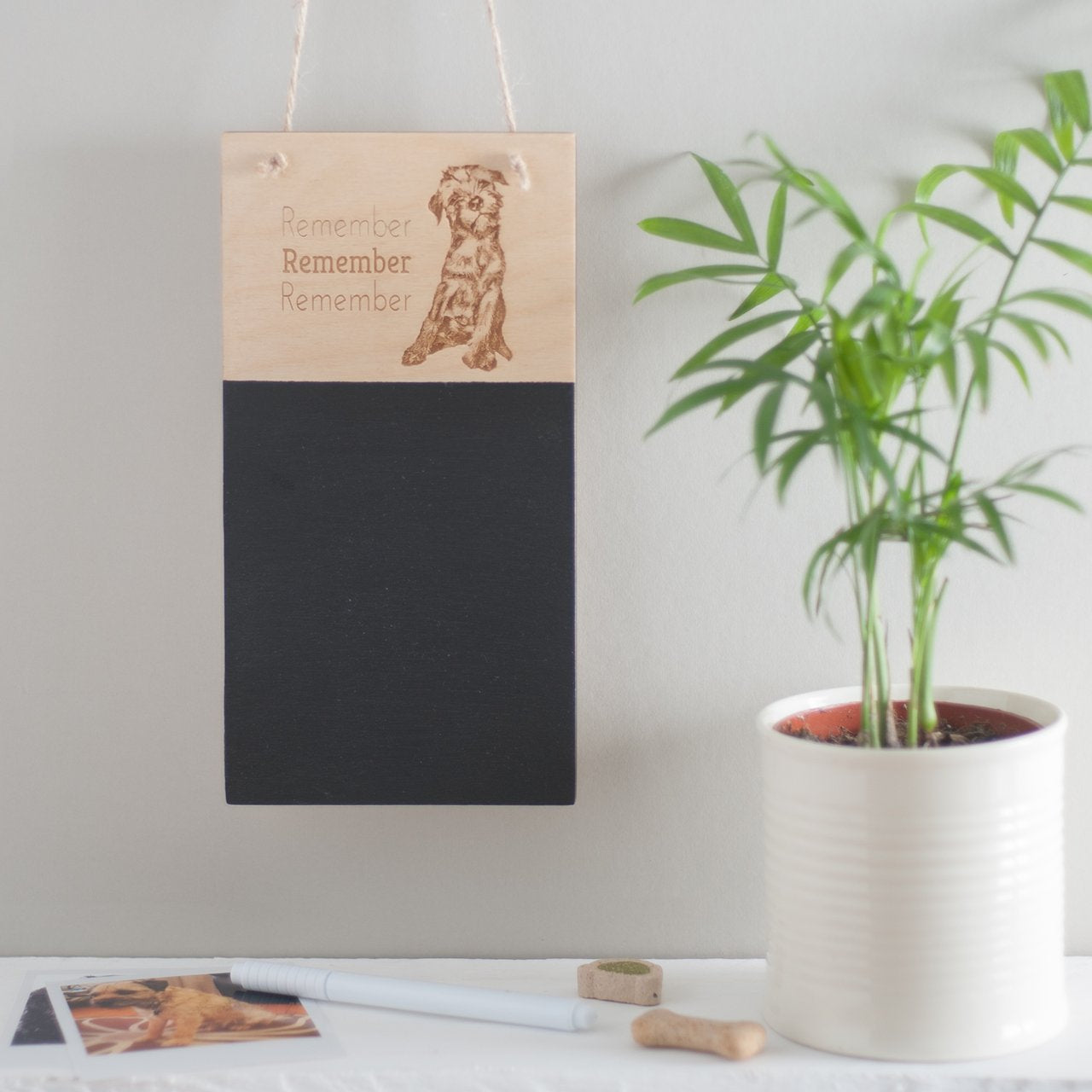A personalised wooden chalk board with your own photograph and message engraved