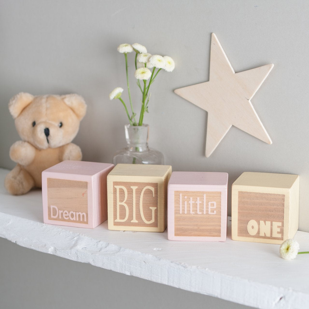A personalised set of wooden pine blocks in your own colour choice, engraved with the words Dream Big Little One