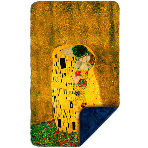 "Gustav Klimt - ""The Kiss"" (1907-08) MicroMink(Whip Stitched) Navy"