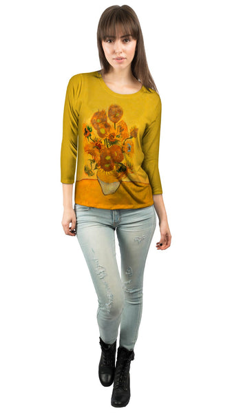 "Vincent Van Gogh - ""Sunflowers(London version)"" (1889) Womens 3/4 Sleeve"