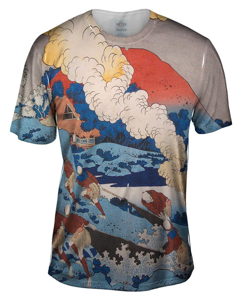 "Katsushika Hokusai - ""Net Fishing At Night"" (1835) Mens T-Shirt"