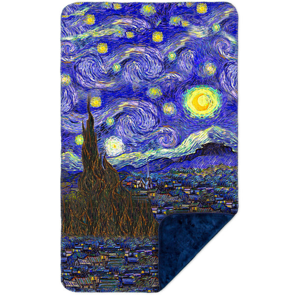 "Vincent van Gogh - ""The Starry Night"" MicroMink(Whip Stitched) Navy"