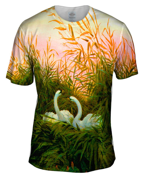 "Caspar David Friedrich - ""Swans in the Reeds"" (1820) Mens T-Shirt"