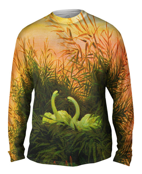 "Caspar David Friedrich - ""Swans in the Reeds"" (1820) Mens Long Sleeve"