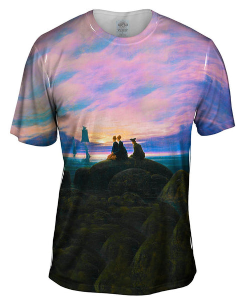 "Caspar David Friedrich - ""Moonrise Over the Sea"" (1822) Mens T-Shirt"