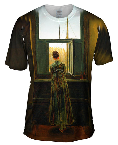 "Caspar David Friedrich - ""Woman at a Window"" (1822) Mens T-Shirt"