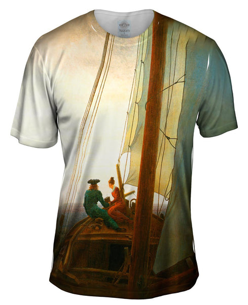 "Caspar David Friedrich - ""On the Sailing Boat"" (1819) Mens T-Shirt"