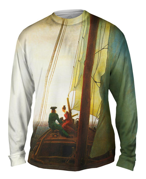 "Caspar David Friedrich - ""On the Sailing Boat"" (1819) Mens Long Sleeve"