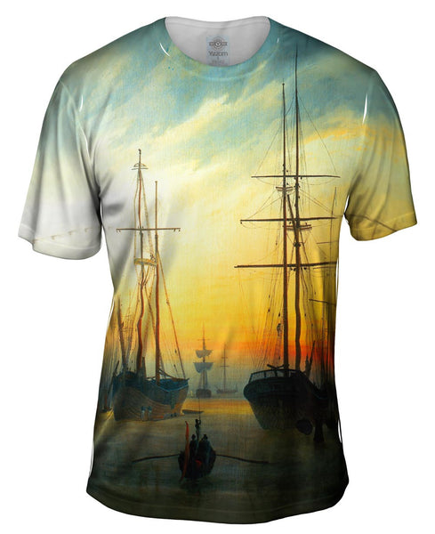 "Caspar David Friedrich - ""View of a Harbour"" (1815) Mens T-Shirt"