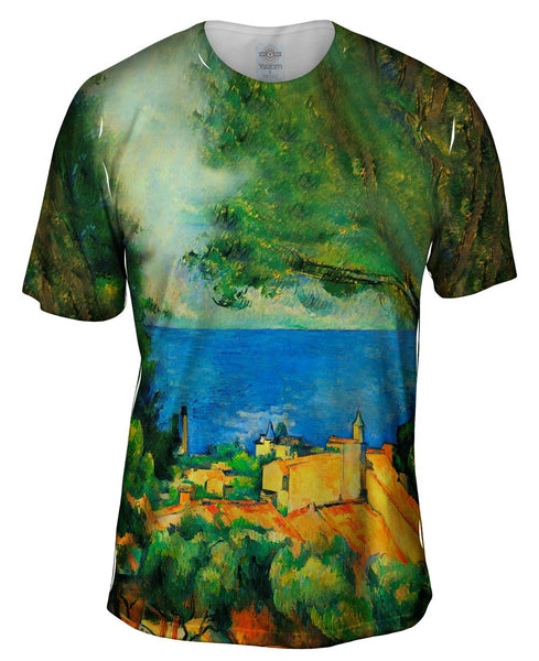 "Paul Cezanne - ""L_#_Estaque with Red Roods"" (1885) Mens T-Shirt"