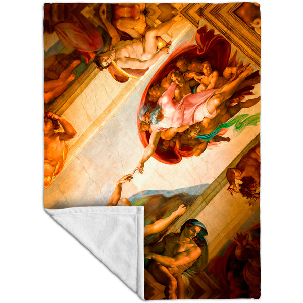 "Michelangelo - ""Creation of Adam"" 001 Fleece Blanket"