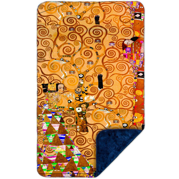 "Gustav Klimt - ""The Tree Of Life"" (1905) MicroMink(Whip Stitched) Navy"