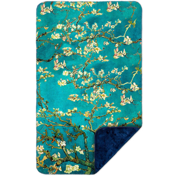 "Van Gogh - ""Blossoming Almond Tree"" (1890) MicroMink(Whip Stitched) Navy"