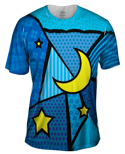 Moon and Stars on Blue Mens T-Shirt