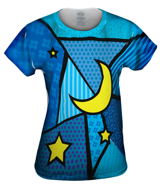 Moon and Stars on Blue Womens Top