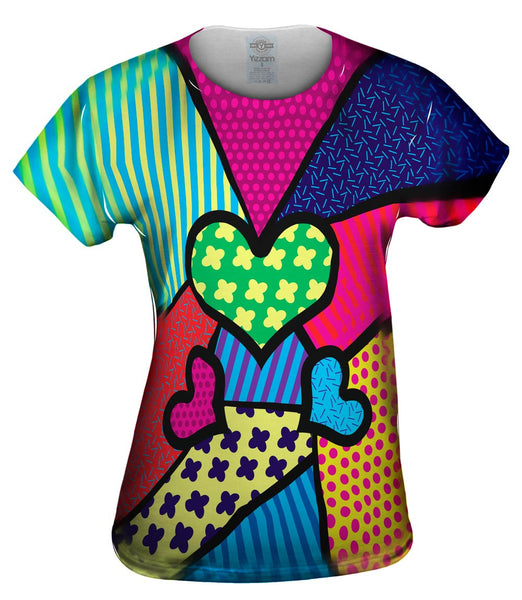 Hearts on Green and Yellow Womens Top