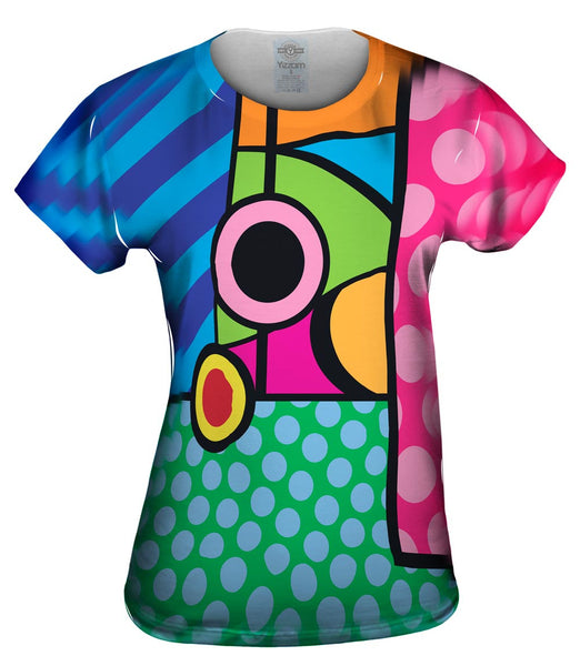 Circles on Green and Blue Womens Top