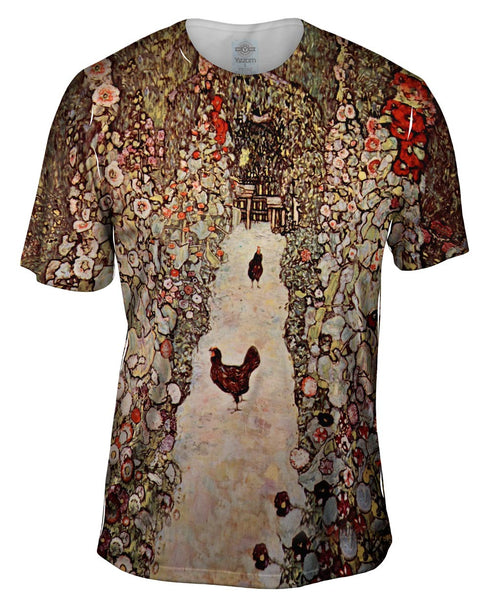 "Gustav Klimt -""Garden with Roosters"" (1917) Mens T-Shirt"