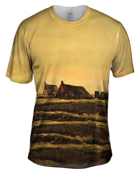 "Van Gogh -""Cottages"" (1883) Mens T-Shirt"